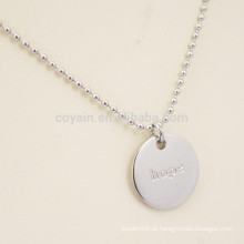 Engraved Letter Logo Aço Inoxidável Plain Silver Round Pendant Necklace