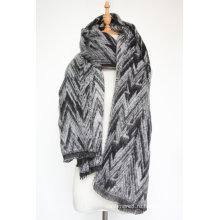 Кашемир женщин как вязаная Зимняя тяжелая волна печати шарф шаль (СП301)