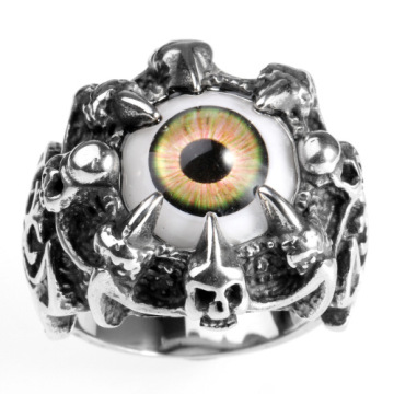 Mosaic simulation eye stainless steel ring set