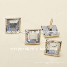 Square rhinestone scrapbook brads