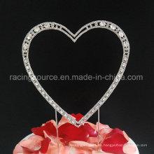 Corazón único del Rhinestone de la vendimia del primero de la torta de boda de la alta calidad