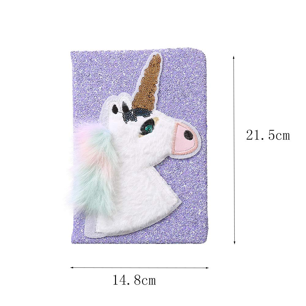 Unicorn Fluffy Sequins Notebook 3