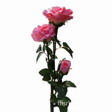 Solar Rose Flower Garden Stake Light in Pink Color with 3 LEDs, 600mA Rechargeable NiCd Battery