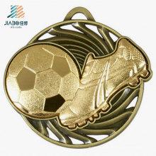 Gratis Design Zinklegierung 3D Rasierte Bronze Metall Fußball Medaille