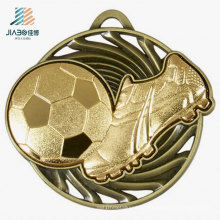 Free Design Zinc Alloy 3D Rasied Bronze Metal Soccer Medal