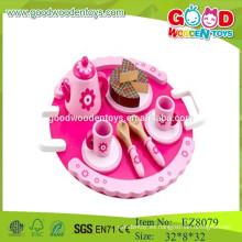 Juego de té de madera juguetes de los niños juguetes del juego del juego del té juega el sistema de té