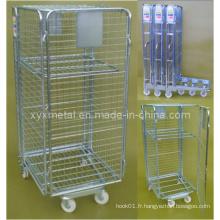 Cage de chariot à conteneur à rouleaux pliable