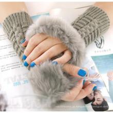 Senhora moda quente pele luvas sem dedos (mu2604)