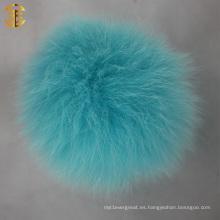 Pompoms de la piel de Colorfur al por mayor Fur Poms Keychain