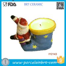 Papai Noel e sua castiçal de cerâmica de meias