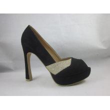 Novo estilo de moda peep toe senhoras sandálias (hyy03-072)