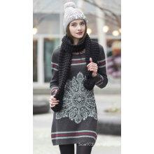 Suéter de cachemira de las señoras con el patrón (1500002086)