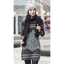 Camisola de cashmere feminina com padrão (1500002086)