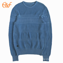 Cotton Knit Blue Sweater Pattern For Men