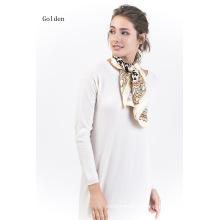 Золотой-100% шелк Саржевого шарф 14мм