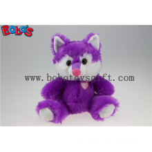 Cuddly Sitting Purple Plush Fox Animal as Children Toy for Festival