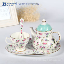 Hot Sale Romantic Flower Pattern Ceramic Makeup Tea Cup And Saucer Sets