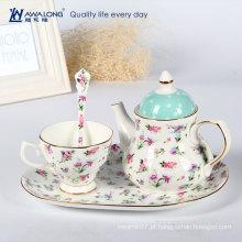 Quente venda romântica flor padrão cerâmico chá de maquiagem e pires conjuntos