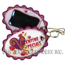 Etiquetas engomadas bordadas de la tarjeta del día de San Valentín