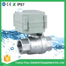 Válvula de esfera elétrica do aço inoxidável de 2 maneiras NSF61 Válvula de esfera motorizada do controle da água com operação manual