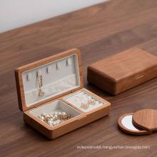 Wooden Jewelry Box Earring Rings Bangle Bracelet Velvet