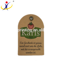 Custom Brand Recycled Kraft Paper Clothing Hang Tag with Embossing