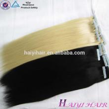 Рождество горячие Продажа светло-розовый синий ленточное наращивание волос человеческие волосы волнистые