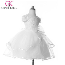 Grace Karin de manga corta de encaje blanco Little Girls Party Wear vestido occidental CL4606