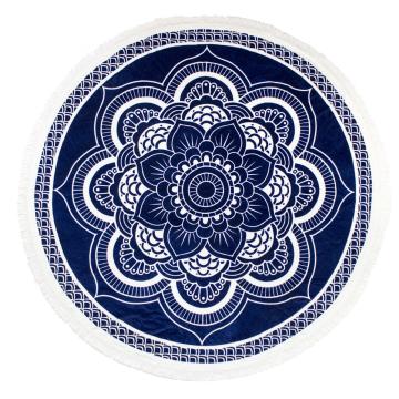 100% Baumwolle heißer Verkauf Lotus-Muster mit Quasten Runde Strandtuch RBT-134