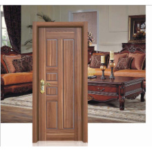 Walnut Colour Simple Design Solid Wooden Door