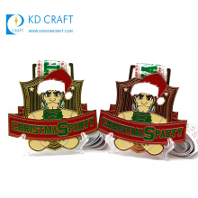 Made in china custom design your own metal zinc alloy soft enamel copper plated santa christmas medal