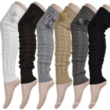 Women′s Acrylic Heavy Cable Leg Warmers with POM POM (TA312)