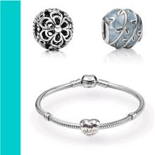 Charmes de perles personnalisées en alliage d'argent pour bracelets à chaîne serpent