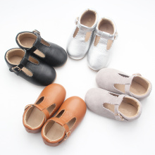 Couro Lace Up Tbar Kids Dress Girl Shoes