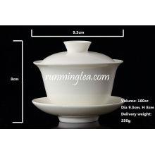 Porcelana branca Gaiwan, Pu Er, chá de jasmim, 160cc / Gaiwan