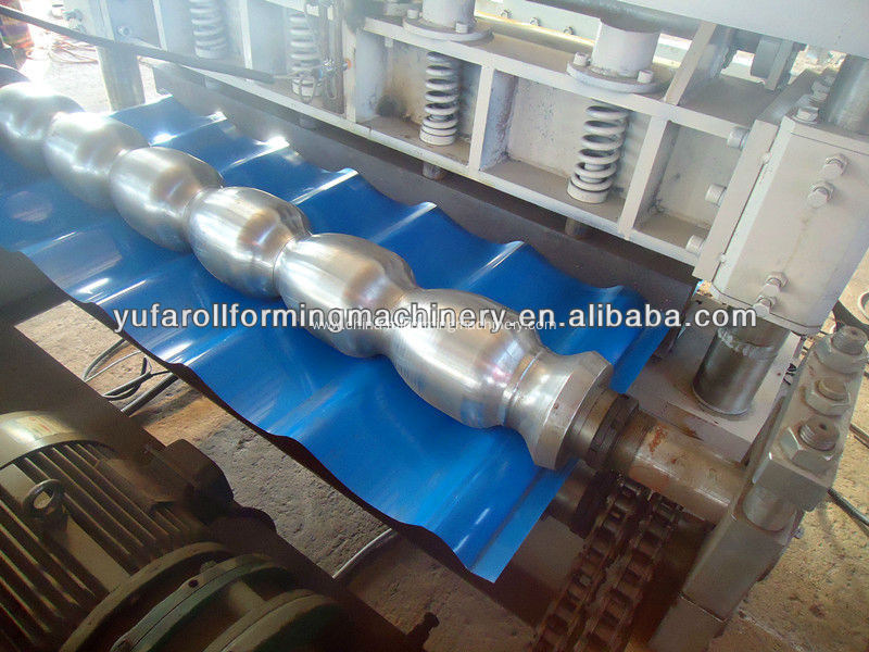Making Color Glazed Roofing Step Tile Rolling Machine