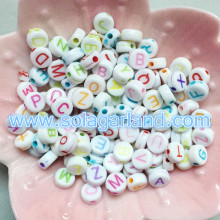 4x6mm Acrylic Alphabet/Letter Coin Round Beads With Bright Letters