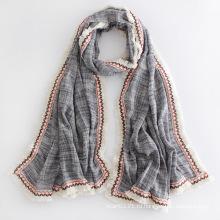 Леди мода хлопок бахромой длинный шарф (YKY1124)