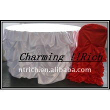 Gorgeous Ruffled Satin Table Cloth para Navidad