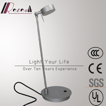 Aluminum Silver Bedside Rotatable Reading Table Lamp