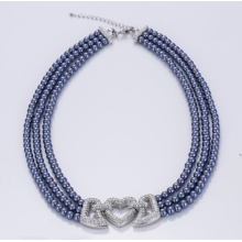 Fast Delivery for Heart Pendant Necklace Custom Multi-layer Blue Glass Pearl Necklace supply to Dominican Republic Factory