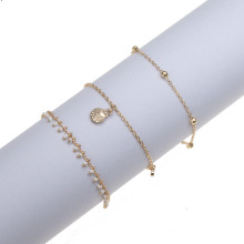 Fashion Personality Ancient Carved Three-Layer Tassel Five-Pointed Star Anklet Foot Decoration Female Beach Anklet