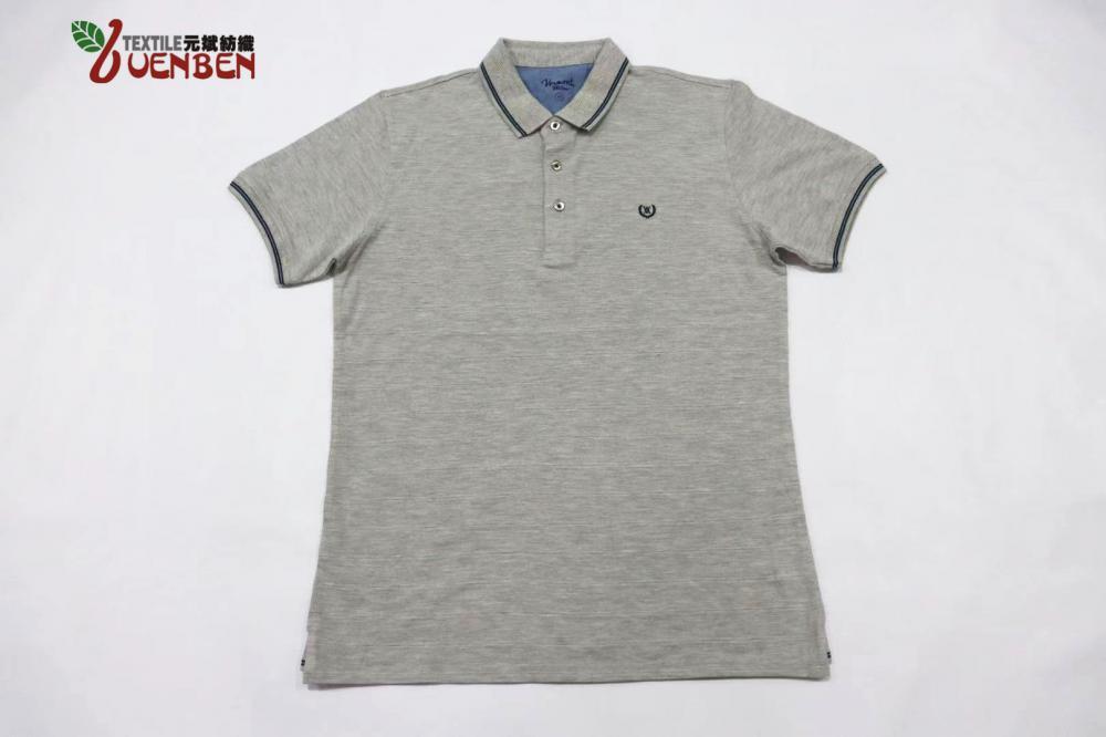 100%Cotton Jacquard Fabric With Jacquard Collar Men Shirt