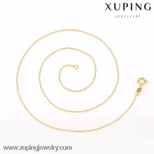 42614- Xuping Simple Design Damenmode Gold Dünne Kette Bead Halsketten