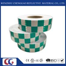 Cinta reflectante de visibilidad de diseño de rejilla verde / blanco (C3500-G)