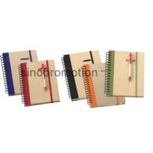 Mini espiral capa dura notebook reciclado com caneta esferográfica