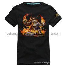 Печатная футболка с подгонянным хлопка высокого качества