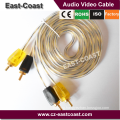 flexible Transparent 2rca to 2rca audio video cables for Car