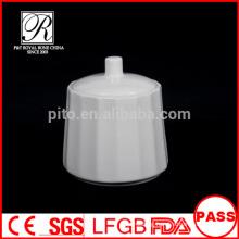 P&T porcelain factory sugar jug with spoon, stripe line sugar bowl