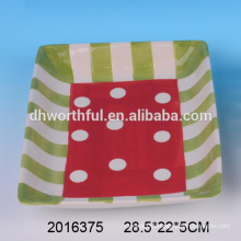 Square ceramic candy dish,ceramic christmas plates for 2016 christmas party
